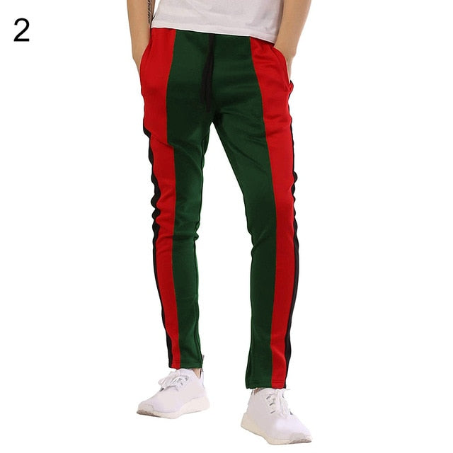 Fashion Color Block Men's Sports Gym Workout Exercise Pants Jogging Trousers