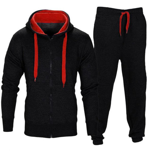 Casual Trousers Hooded Zip Coat Jacket Pants Jogging Sports Tracksuit