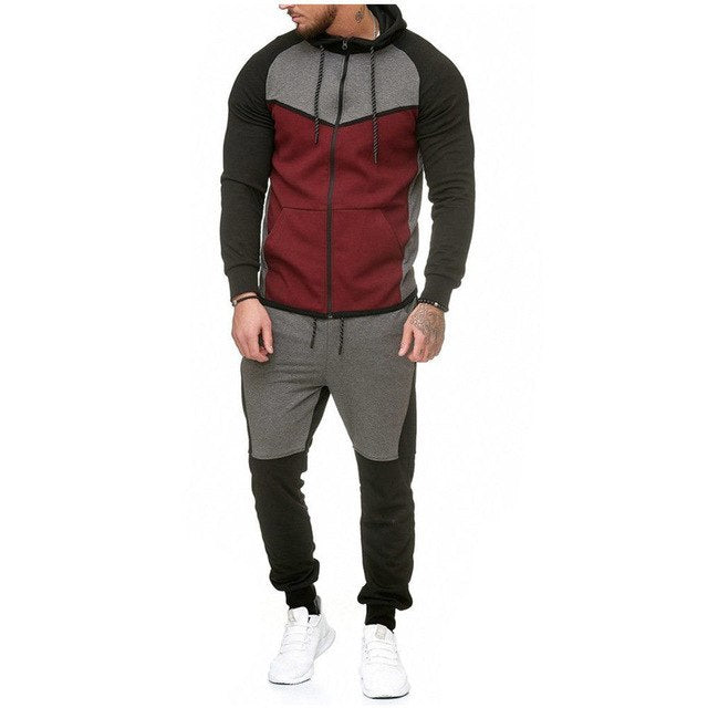 Men Gym Sport TrackSuit Hoodie Jacket Sweater Suit