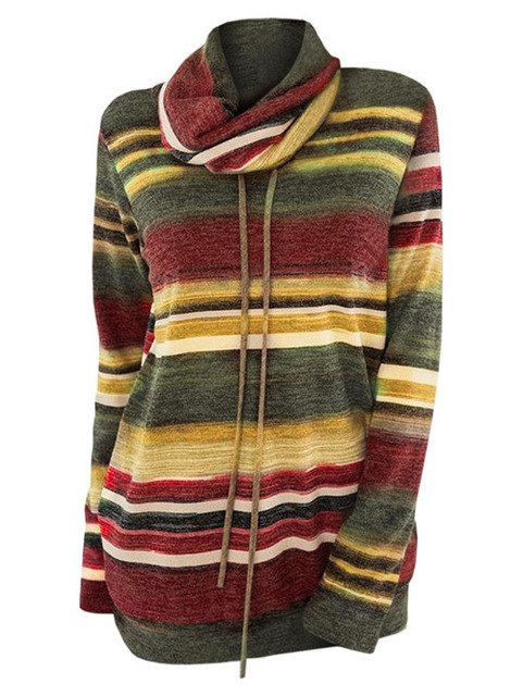 Sweater Pullovers Fashion Striped Knitwear Cowl Neck Drawstring
