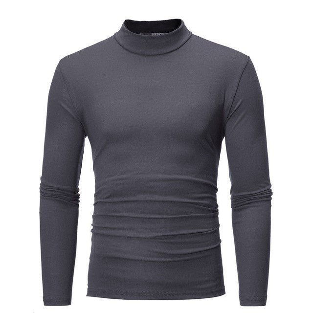 Men Casual Turtle neck Long sleeve Cotton Top T shirt man's T-shirt Cloth