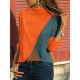 Turtle Neck T Shirts Stitching Color Long Sleeve