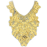 1pc Sewing Craft Gold Collar Venise Sequin Floral Embroidered Applique Trim Decorated Lace Neckline Collar