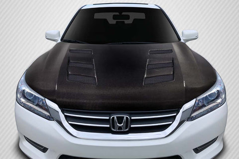 Fits 2013-2015 Honda Accord 4DR Carbon Fiber  AMS Hood  #115505