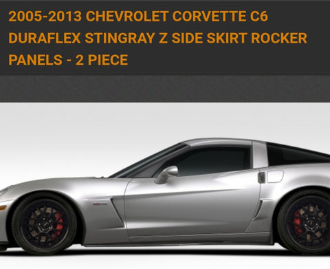 For 2005-2013 Chevrolet Corvette C6 Duraflex Stingray Z Side Skirt Rocker Panels - 2 Piece. Item 109687