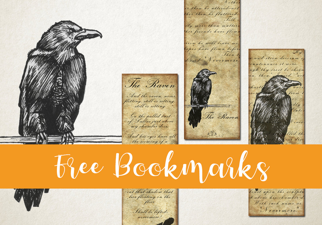 Free Printable Bookmarks with Poe's Raven