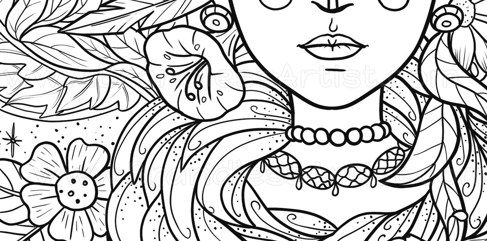 Detailed Free Floral Coloring Page - Flowers with Girl