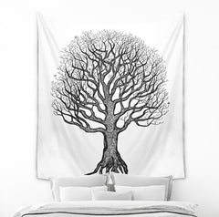 Black and White Tree of Life Tapestry by Brandless Artist