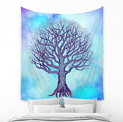 Blue Tree of Life Tapestry by Brandless Artist