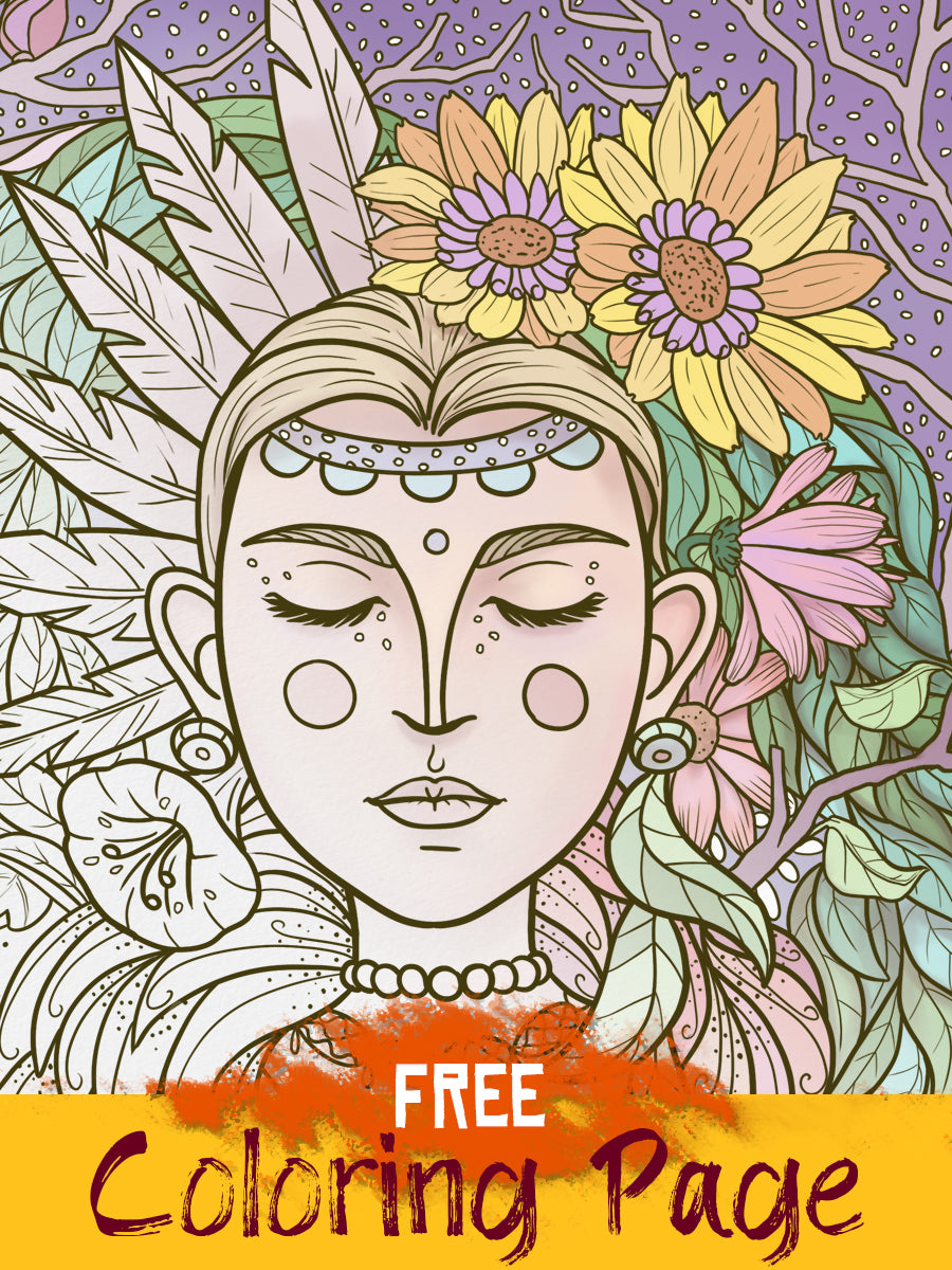 Free Coloring Page - Downloadable Floral page