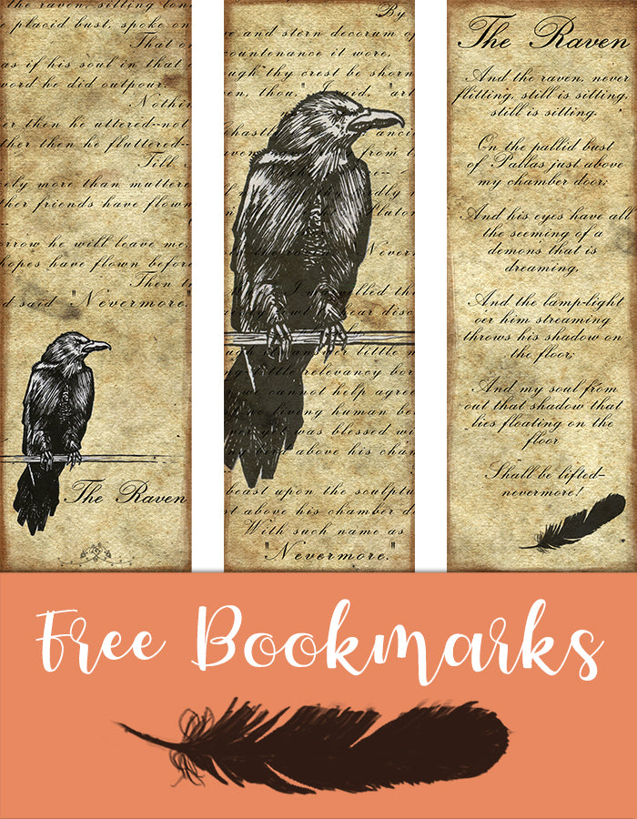 Free Bookmarks with Poe's Raven