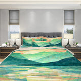 Green Mountain Duvet Cover Modern Bedroom Decor