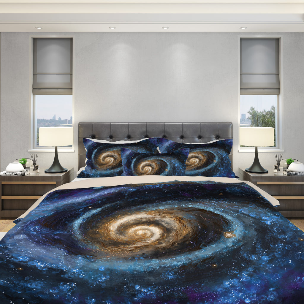 space bedding set on duvet and pillows
