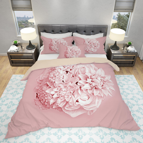 pink floral bedding set