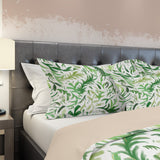 boho leaf pillow shams on bed