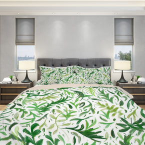 green boho leaf bedding set on duvet