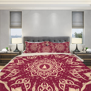 Burgundy Duvet Cover Set - Meditating Buddha Bedding | Brandless Artist