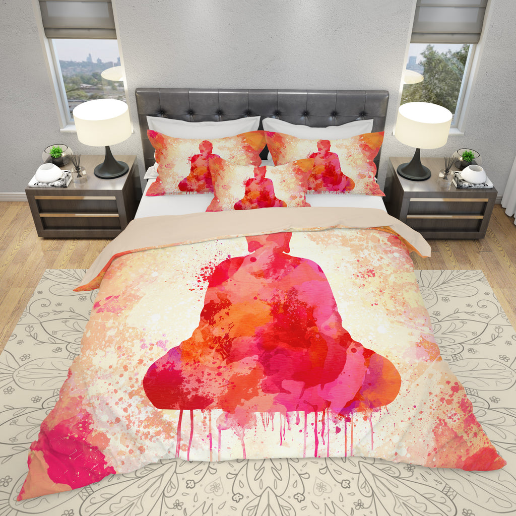 Red Buddha Bedding Set - Spiritual Duvet Cover Set | Brandless Artist