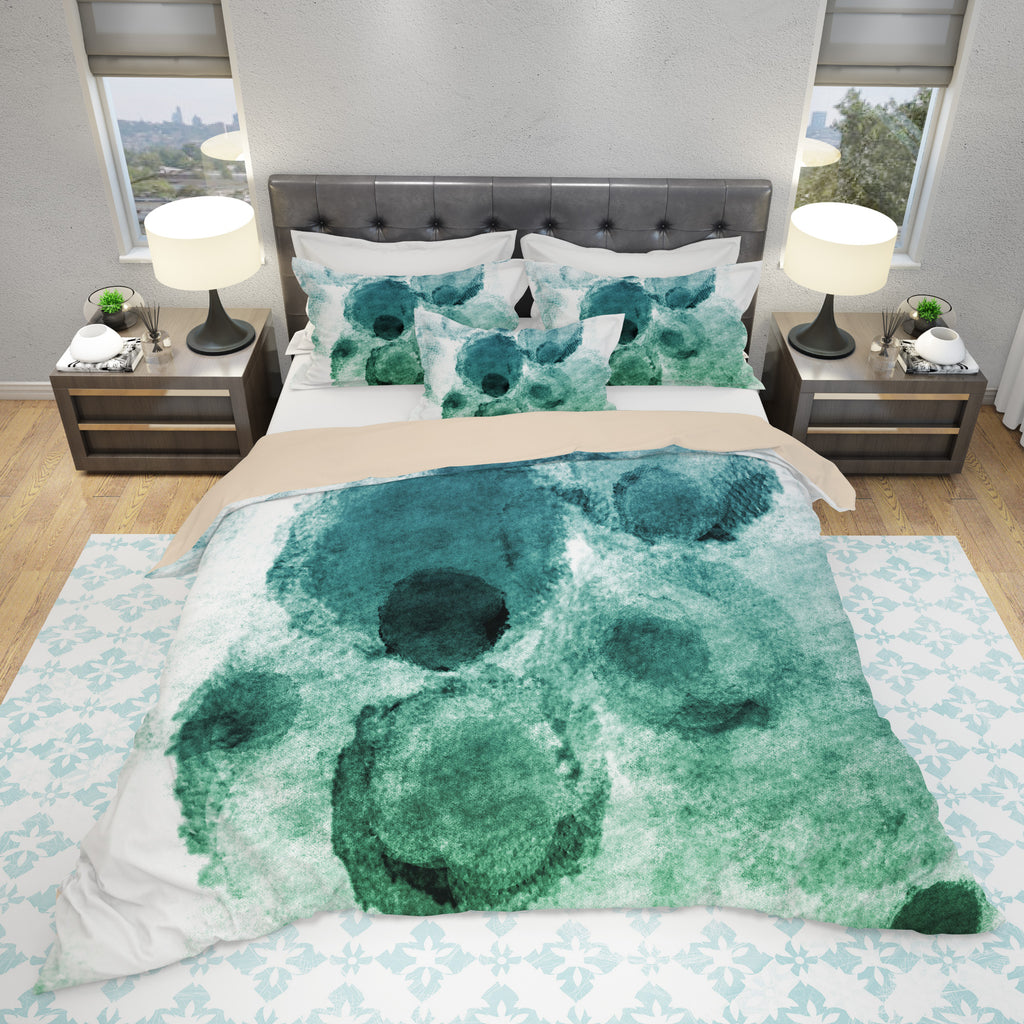 Green Blots Duvet Cover - Watercolor Blots Bedding | Brandless Artist