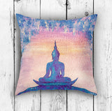 Meditating Buddha Pillow Cover - Blue and Pink Cushion | Brandless Artist
