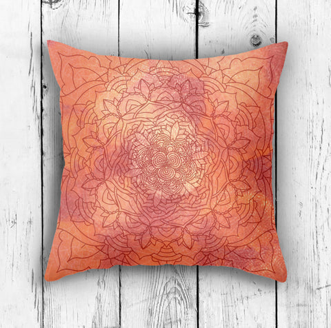 Orange Mandala Pillow - Brandless Artist