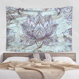 Marble Tapestry with Lotus in Purple and Green Colors | Brandless Artist