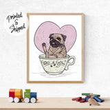 Cute Pug Print - Pug of Coffee Print | Brandless Artist