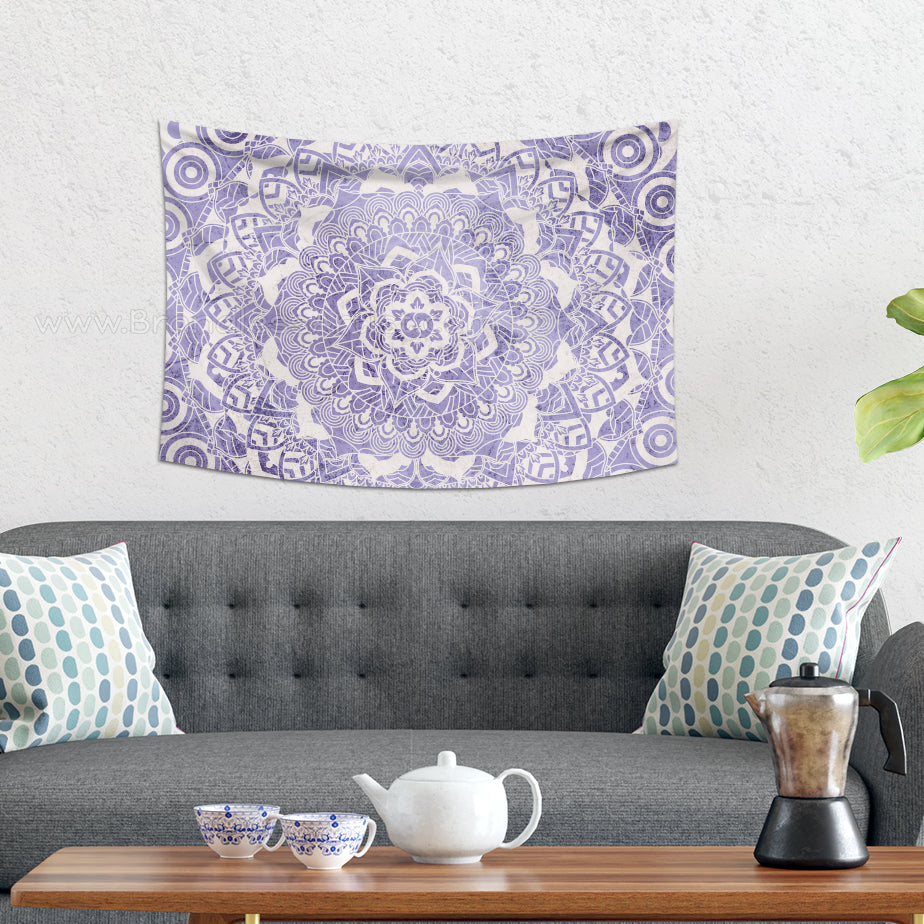 Small Purple Mandala Wall Hanging Home Decor Rustic Artwork  | Brandless Artist