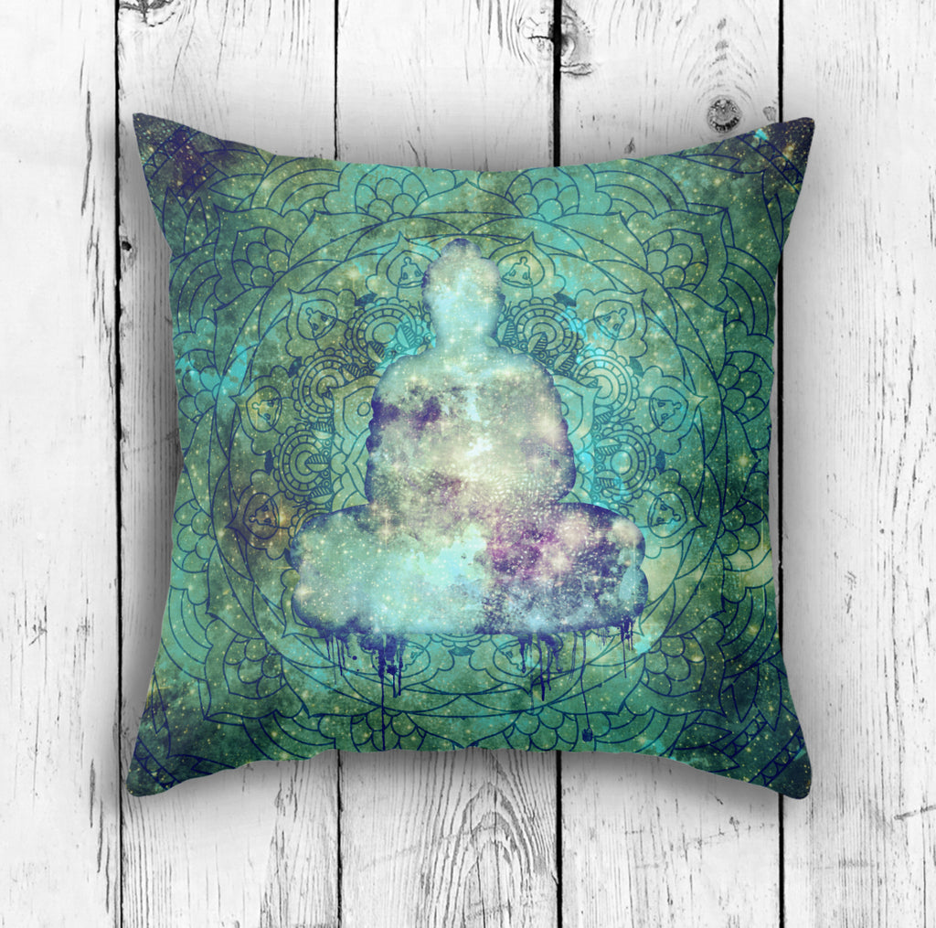 Space Buddha Pillow - Cotton Twill or Polyester Cushion | Brandless Artist