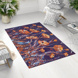 Floral Rug for Her with Red Poppies on Dark Blue, Rectangle| Brandless Artist