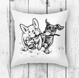 Playing Dogs Pillow - Fun Puppy Home Decor | Brandless Artist