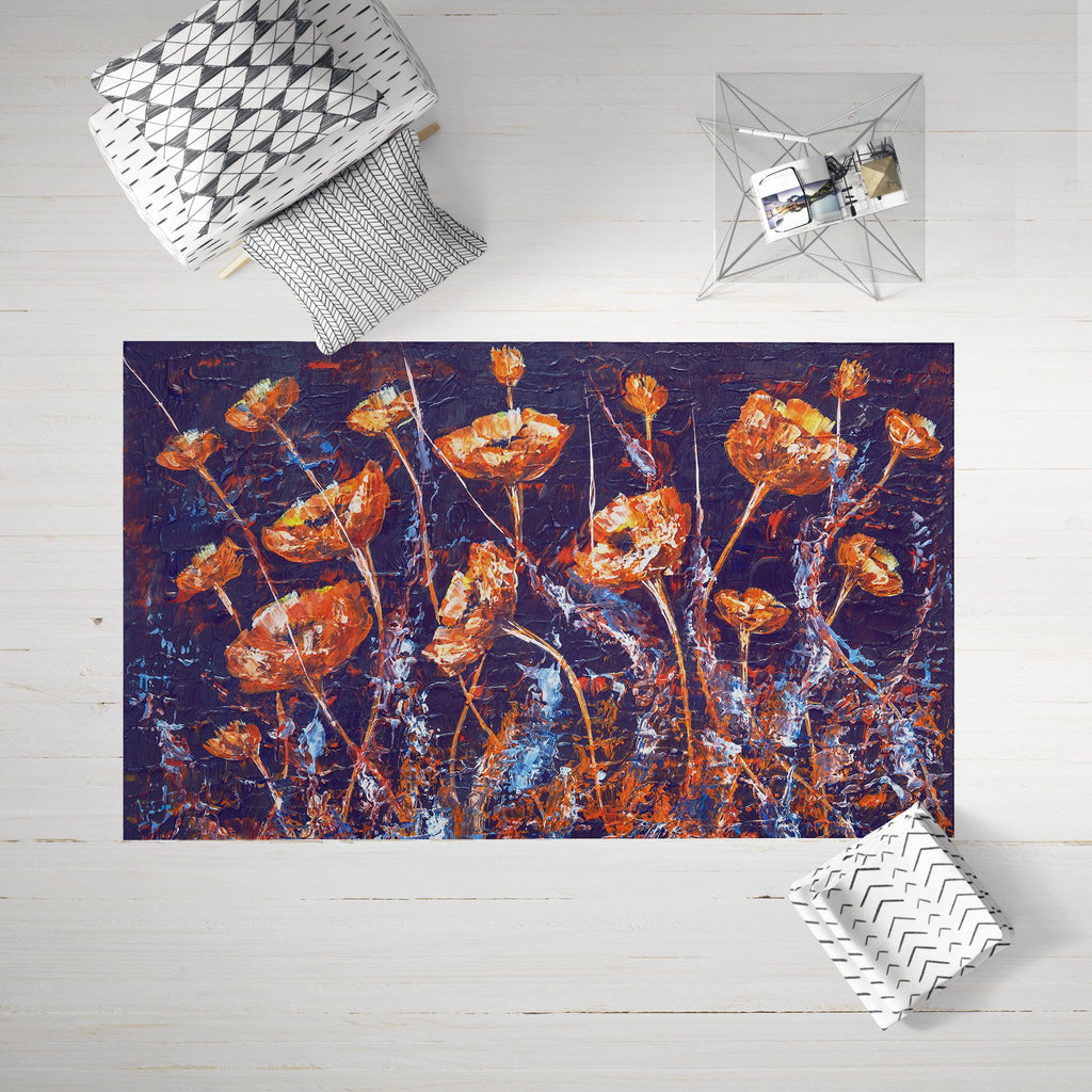 Floral Area Rug for Her - Living Room Rug Dark Blue | Brandless Artist