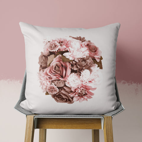 beige floral pillow