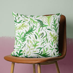 Boho Leaves Pillow - Green Botanical Cushion | Brandless Artist