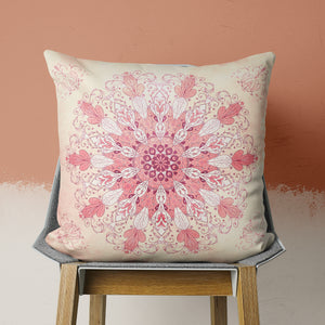 spring mandala throw pillow on chair