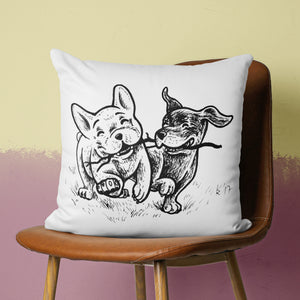 cute playing dogs pillow