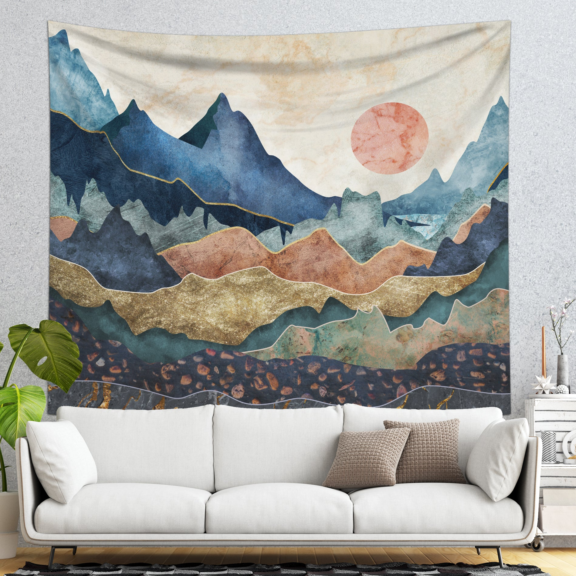 Scenic Mountain Tapestry Wall Hanging - Nature Tapestry