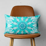 Aqua Mandala Throw Pillow - Rectangle Sofa Pillow with Mandala | Brandless Artist