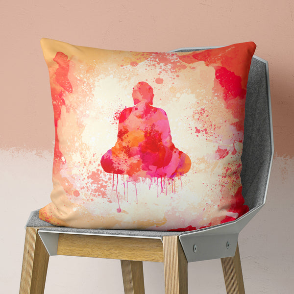 red Buddha Pillow on Chair