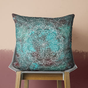 Green Rustic pillow with mandala on chair