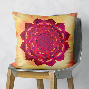 Sun mandala pillow on chair