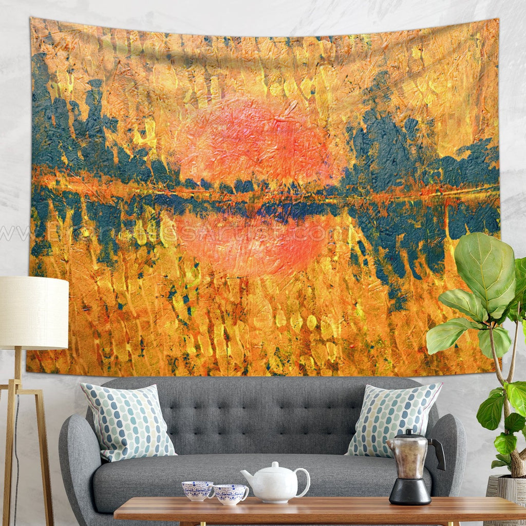 Golden Sunrise Landscape Wall Tapestry - Abstract Wall Hanging | Brandless Artist