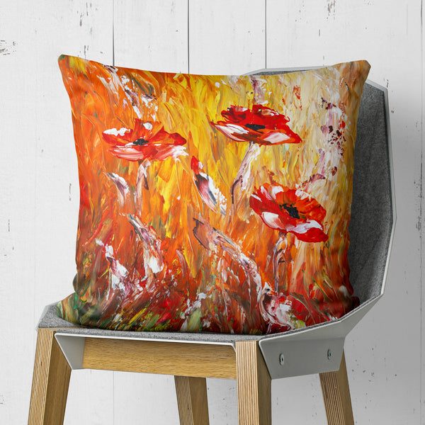 Red Poppy pillow on chair