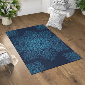 Dark Blue Rug - Floral Mandala Home Decor | Brandless Artist