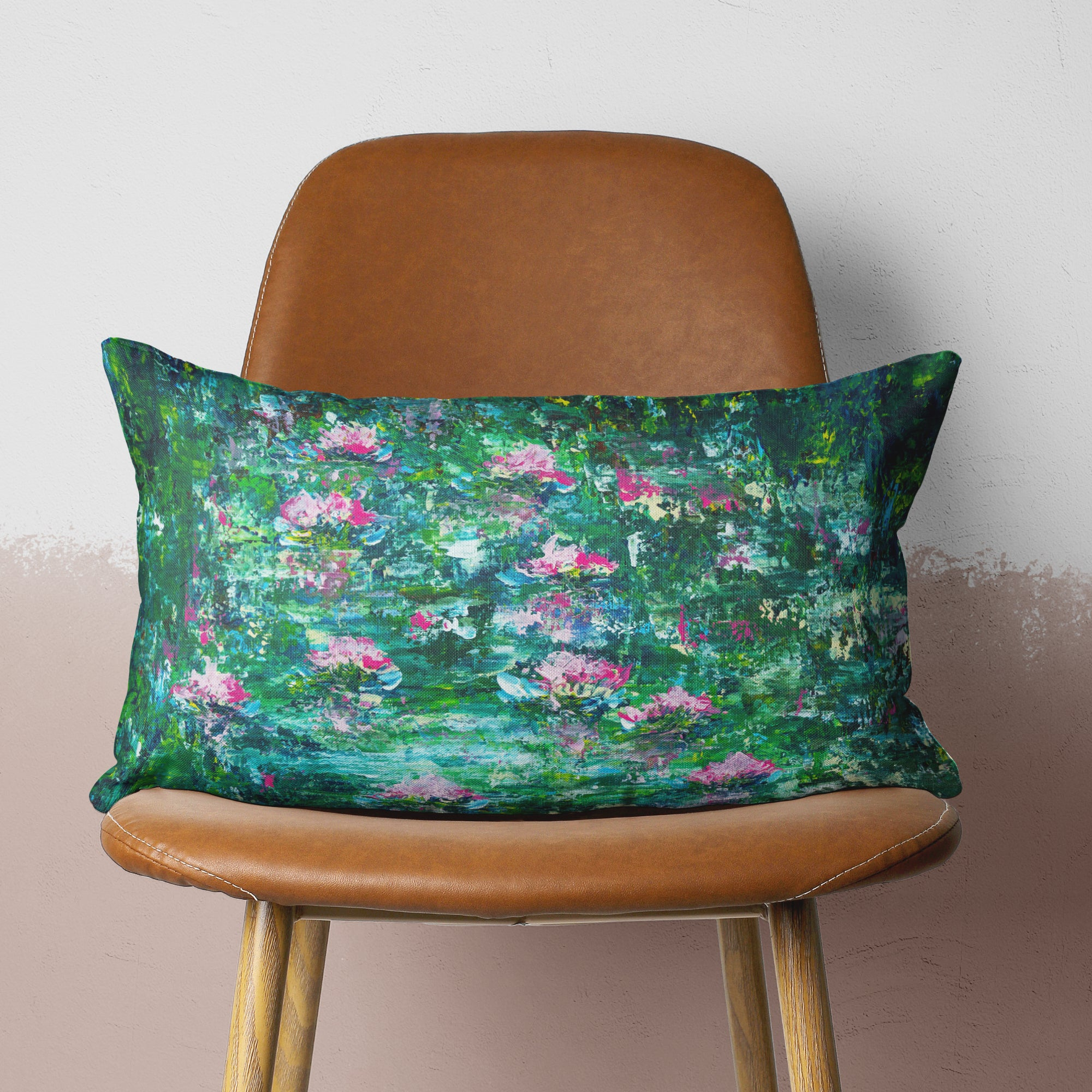 Green Impressionist pillow on chair