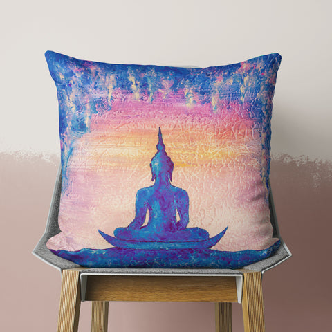 peacefully meditating pillow on chair