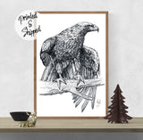 Falcon Art Print - Bird Drawing Print | Brandless Artist