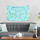 Ombre Mandala Tapestry - King Sized Aqua Blue Wall Hanging