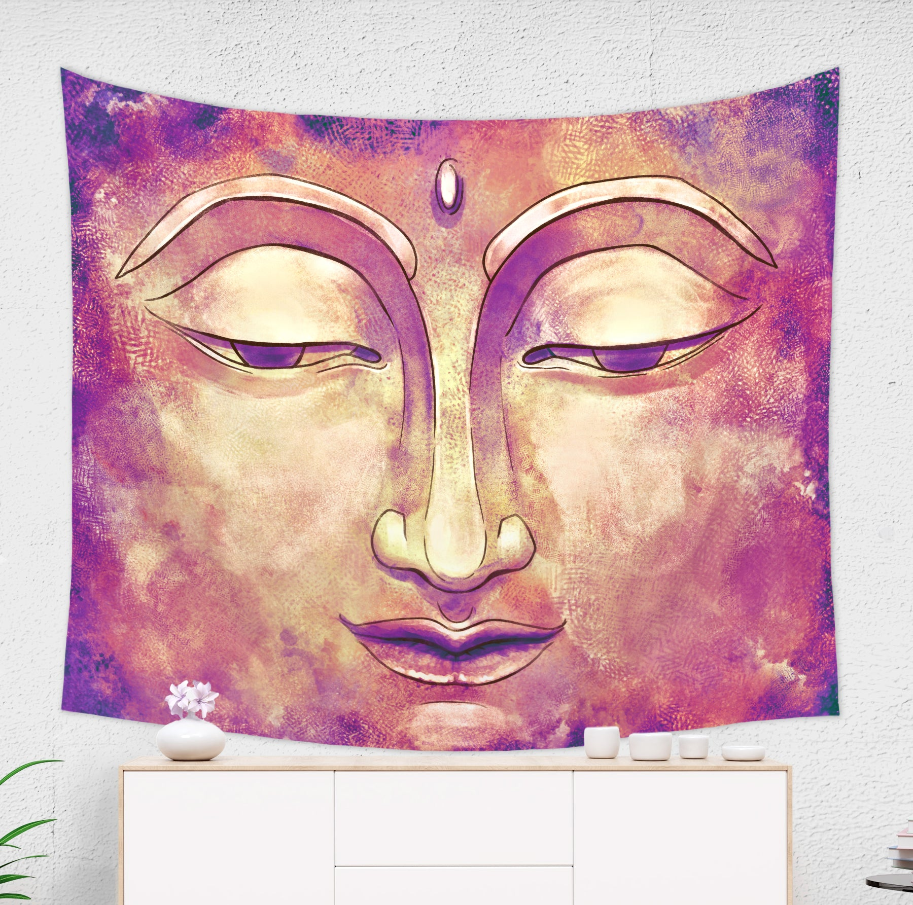 Gold and Pink Buddha Tapestry Rustic Zen Home Decor | Brandless Artist