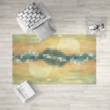 Abstract Pixel Dobby Rug Mountain Home Decor, Orange and Green | Brandless Artist